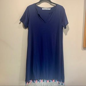 MICHAEL STARS navy notch neck t-shirt dress